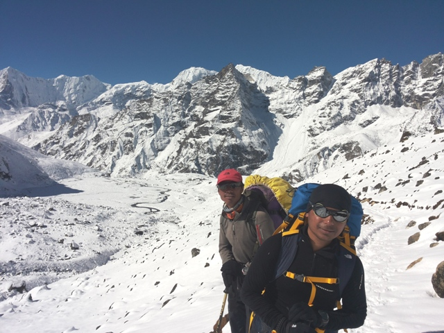 Our Guide Saran and Sirdar Om on the way to the pass.