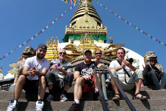 Marc, Jan, Fredrik, Kia och Niklas vid Monkey Temple, Kathmandu