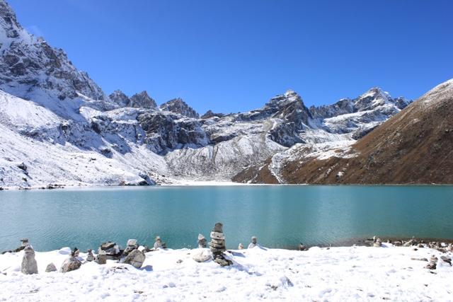 Gokyo Lake med Renjo La passet rakt ovanfor.