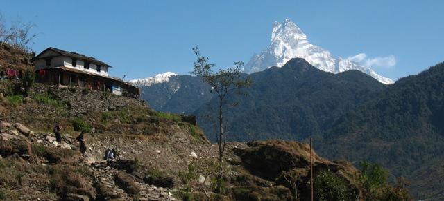 """""""Fishtail"""" 6 993 möh stoltserar mot Himalayas blå himmel."""