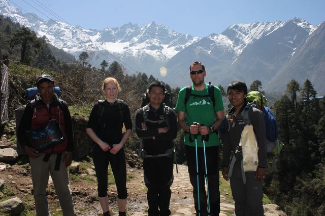 Då var vi på väg mot Mera Peak! Pema, Anna, Nima, Mårten & Bikram