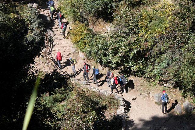 Gruppen promenerar tillbaka till Lukla för att ta flyget till Kathmandu.  Namaste - Välkommen åter!