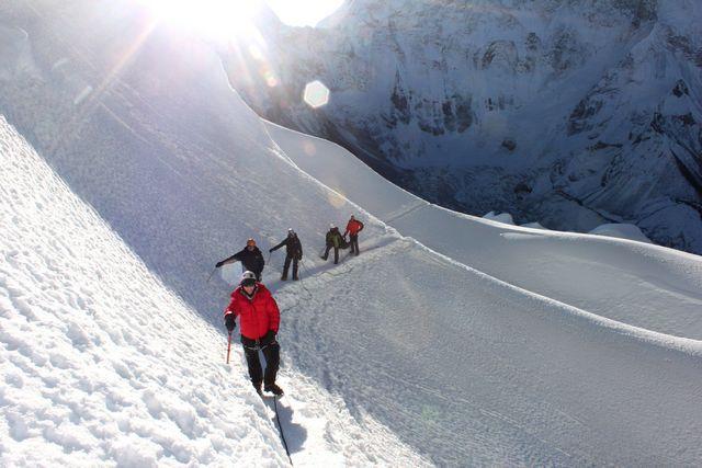 Vandring över Island Peaks glaciär