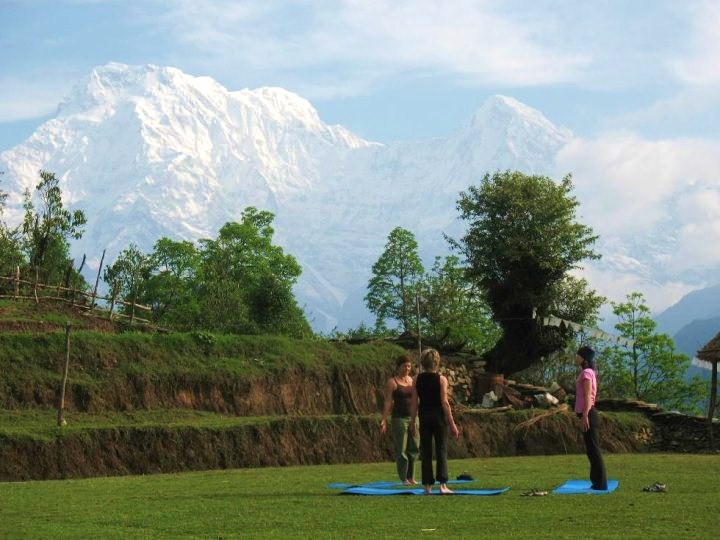Yoga under mountains, Nepal
